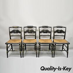American Colonial L Hitchcock Black Stenciled Rush Seat Dining Chairs - Set Of 4