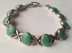 Antique Russian Chain Bracelet Sterling Silver 925 Turquoise Women's Jewelry