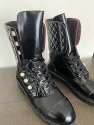 New Ankle Boots Combat Quilted With Pearl And Velvet Trim Size 37us