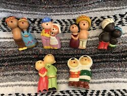 Vintage Antique World Gifts Japan Chalkware Singing Children Painted Lot Of 6