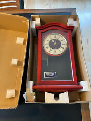New In Box Vintage Antique Seiko Cherry Red Wall Pendulum Clock With Chime