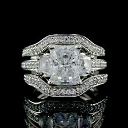 3.00 Cts Radiant Cut Bridal Ring With 2 Wedding Bands In 14k Solid White Gold