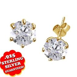 2.75 Ct Round Simulated Diamond 18k Yellow Gold 6 Prong Solitaire Stud Earrings