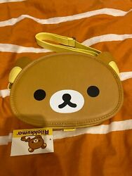 NWT New San X Rilakkuma Over Shoulder Face Bag Brown Pouch Purse Carry Round 1 $45.00