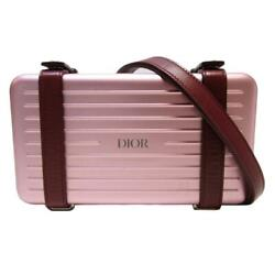 Dior And Rimowa Personal Clutch Bag Pink Aluminum Grained Calfskin Leather