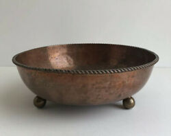Dryad Lester 30a Vintage Hammered Round Copper Bowl Arts And Crafts Ball Feet