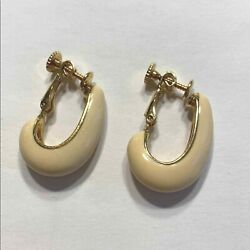 Vintage Napier Clip On Earrings Gold And Cream Enamel Hoops Classic 1980and039s Career
