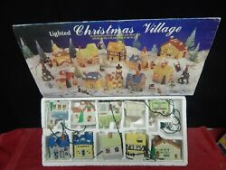 Lighted Christmas Village Hand Painted Porcelain Vintage Houses