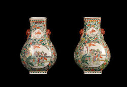 China 20. Century A Pair Chinese And039famille-verteand039 Vases And039 Hu And039