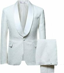 Yffushi Menand039s 2 Piece Suits White Tuxedo 1 Button Shawl Collar Party Dinner Suit