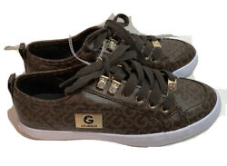 Gbg Los Angeles Brown And Gold Canvas Womens Sneakers Shoes Size 7.5