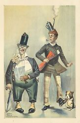 Original Vintage Poster American Circus Clowns Dogs 1880