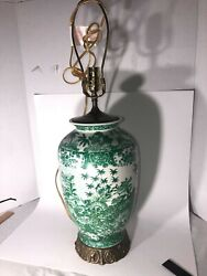 Contemporary Chinese Vase Lamp Porcelain Green Flowers Brass Base See Pics