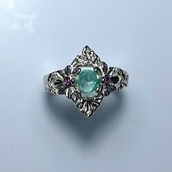 Natural Colombian Emerald 925 Silver /9ct 14k 18k Gold Platinum Unisex Ring