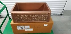 Signature Hardware 30 Vine Design Solid Copper Farmhouse Sink
