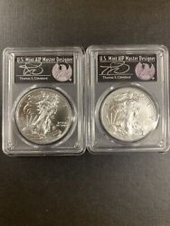 2020-s And 2021-wpcgs Ms70 Silver Eagle Fdoi -2 Coins Set Cleveland