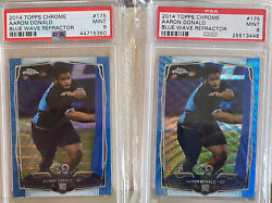 Aaron Donald 2014 Topps Chrome Blue Wave Refractor Rc Rookie Psa 9 Dpoy Lot Of 2