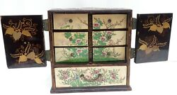 Rare Antique 19th C Japanese Lacquer Wood Inlay Ceramic Pieces And Draws Jewelry B