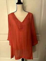 Avenue Women Coral Crochet Trim Flutter Sleeves Peasant Tunic Top Size 18/20 Nwt