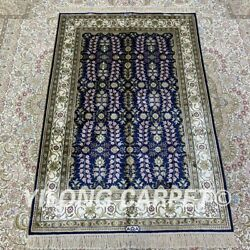 Yilong 2.7and039x4and039 Handmade Silk Area Rug Blue All-over Eco Friendly Carpet H201b