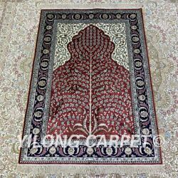 Yilong 2.7'x4' Red Handknotted Silk Carpet Kid Friendly Luxury Area Rug H208b