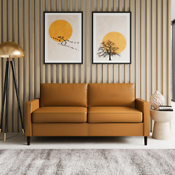 Lifestyle Solutions Altus Contemporary Knockdown Sofa With Faux Leather Camel