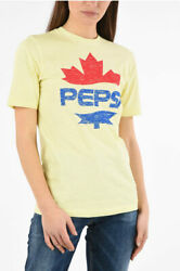 Dsquared2 Women T-shirts And Tops Pepsi Printed Renny Fit T-shirt Yellow