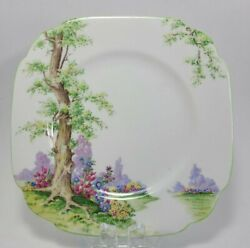 Royal Albert Greenwood Tree Green Trimmed Small Square Plate