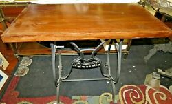 Antique White Cast Iron Sewing Machine Table Base Legs Industrial Usa And Top Nice