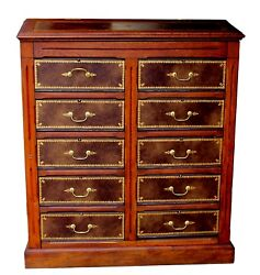 Antique Walnut And Tooled Leather French Empire Chest Of Drawers Dresser Cabinet