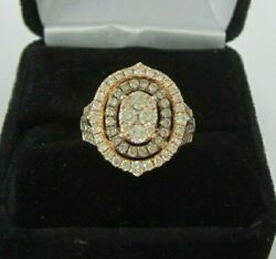 Glamorous Levian 14k Rose Oval Chocolate And Nude Diamond Cluster Ring 1.2ct 7.1g