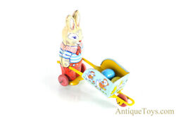 J. Chein Tin Lithographed Rabbit With Wheelbarrow Easter Bunny Toy