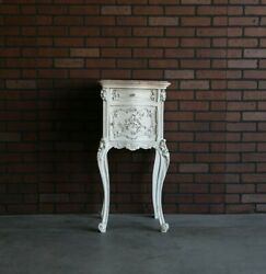 Antique French Rococo Marble Top Nightstand French Provincial Bedside Table