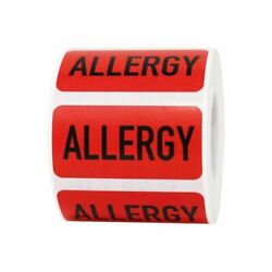 Red Allergy Medical Warning Labels | 1 X 2 Inch Rectangle - 500 Pack