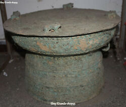 """17"""" Old Bronze Ware Dynasty Frog Dragon Beast Pattern Drum Musical Instrument"""