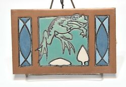 Unique Vintage Arts And Crafts Mission Style Decorative Tile Jumping Frog Figure
