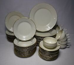 Rosenthal Continental China Gold Band Sanssouci 59-piece Set Service For 12
