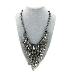Gunmetal Silver Tone Faceted Multi Bauble Beaded Chunky Bib Statement Necklace