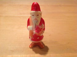 Antique Celluloid Santa Claus Christmas Rattle Shaker Toy Ornament 5 Tall.