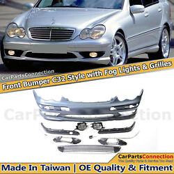 C32 Style Front Bumper With Fog Lights For W203 Mercedes C Class Sedan 2001-2007