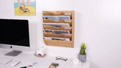 TQVAI Bamboo Wall Hanging File Holder 5 Tier Wall Mount File Rack Folders with