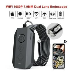 Wifi 1080p 7.9mm Dual Lens 8 Leds 4x Zoom Waterproof Endoscope Borescope For Ios