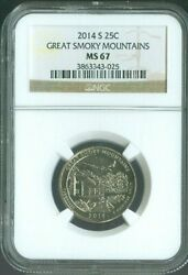 2014-s Great Smoky Mountains National Parks Quarter Ngc Ms67 Quality ✔️