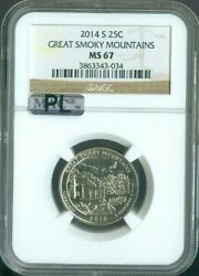 2014-s Great Smoky Mountains National Parks Quarter Ngc Ms67 Pl Quality ✔️