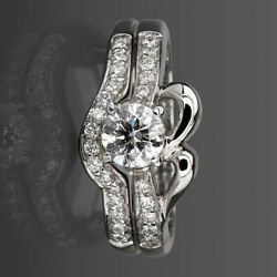 Diamond Ring Band Set Earth Mined 4 Prongs 1 1/4 Ct 14k White Gold Size 6.5 8 9