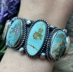 Native American Sterling Silver Royston Turquoise Row Cuff Bracelet. Ky