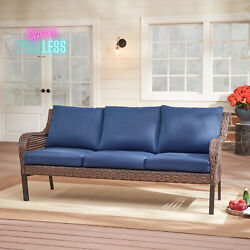 Mainstays 3 Seat Outdoor Wicker Sofa Steel Frame Bench Patio Furniture Blue New