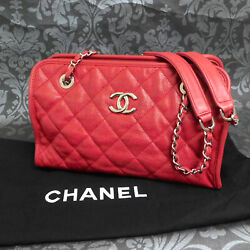 Rise-on Caviar Skin Leather Quilted Chain Red Shoulder Bag Handbag 2343