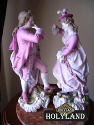 Very Rare Large Antique Pair Of Porcelain Figurine Volkstedt Germany Height 32cm