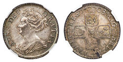 Great Britain. Anne 1708 Ar Shilling. Ngc Ms66 Esc-1399 Rare In This Quality.